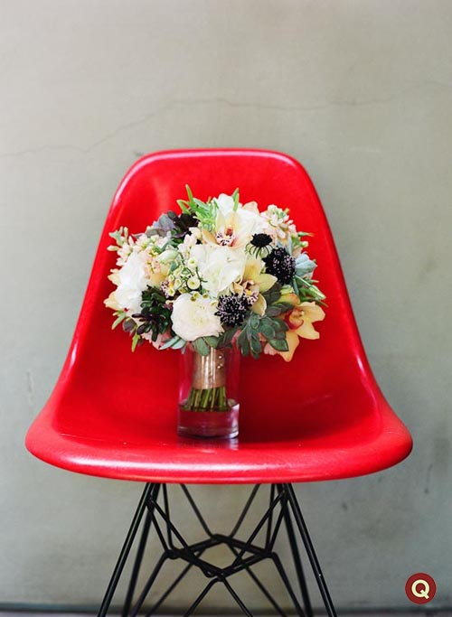 flowers_on_red_Eames_plastic_molded_chair