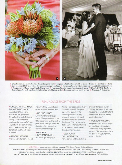 2012 Southern Living Weddings 5 tm Southern Living Weddings feature of a Hindu Fusion wedding