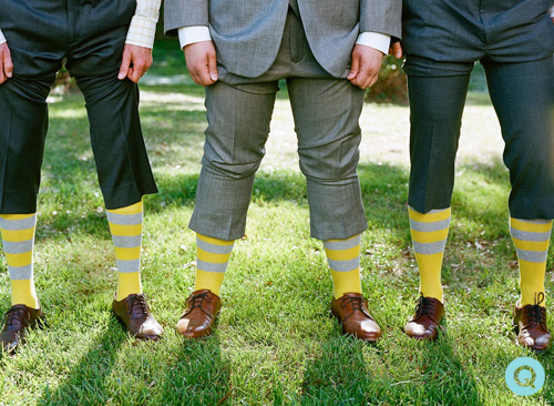 yellow gray striped socks Southern Weddings is featuring a Charleston wedding