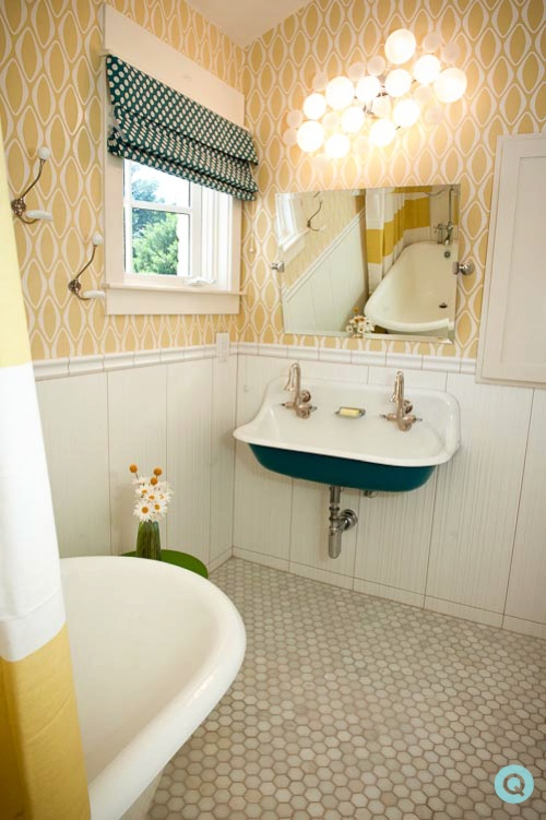 yellow bathroom 2 tm West Elm features a yellow bathroom