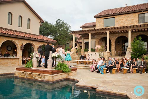 back yard ceremony tm Elegant back yard wedding in Austin