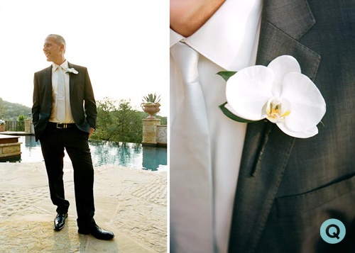 orchid boutonniere tm Elegant back yard wedding in Austin