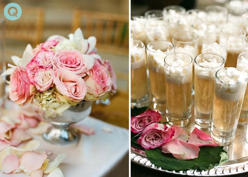 pink champagne toast tm Elegant back yard wedding in Austin