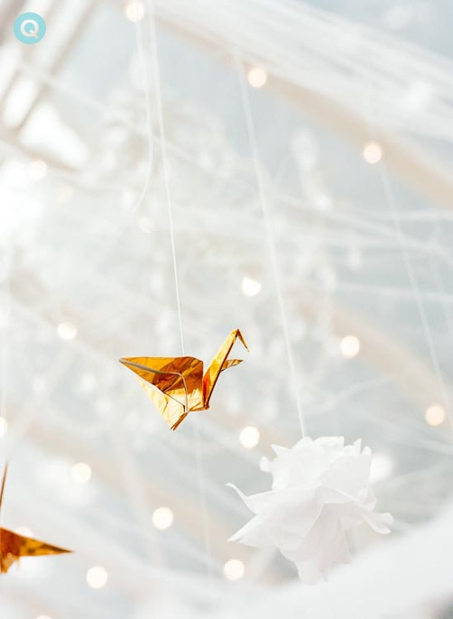 white gold origami cranes tm white and gold wedding on Offbeat Bride