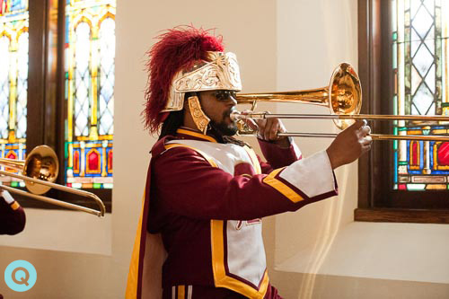 USC Trojans trombone player How about a marching band at your wedding?