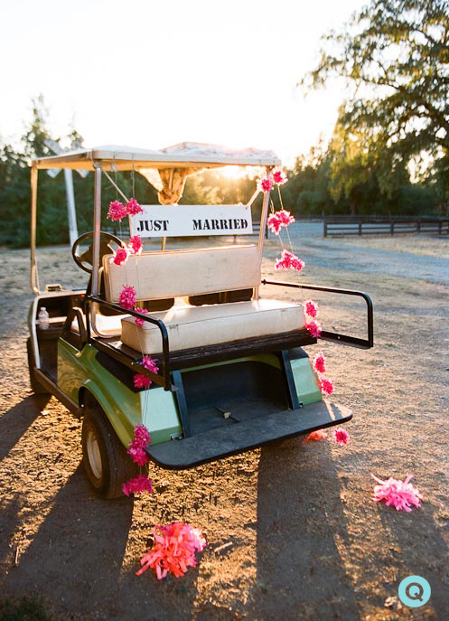 just-married-golf-cart