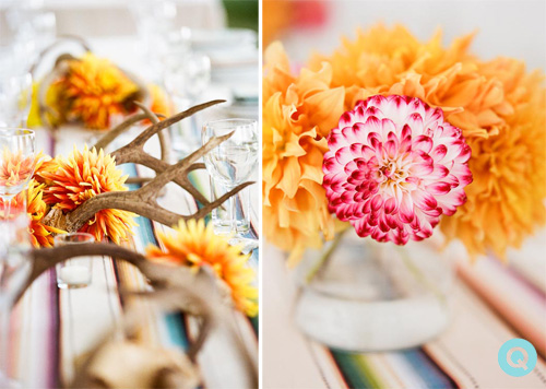 wedding antlers zinnias stripes decorating ideas for a black tie bohemian wedding