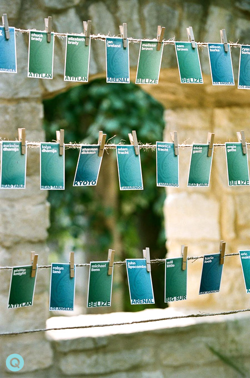 escort cards at Indian fusion wedding