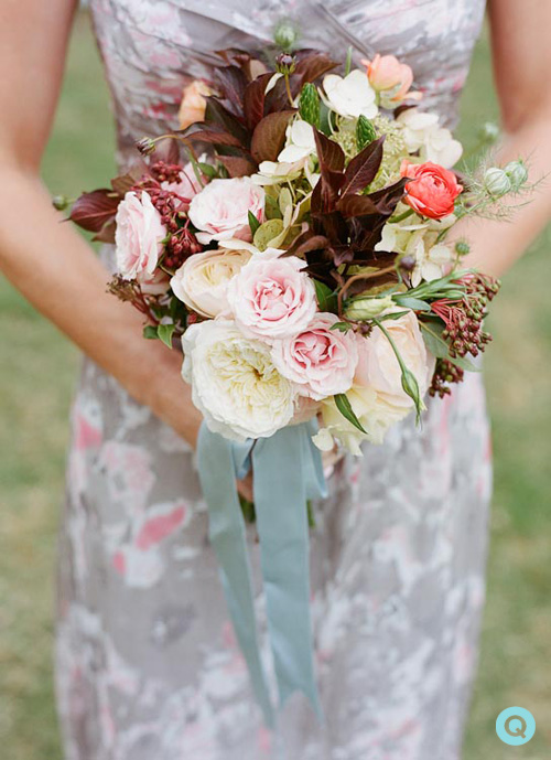 bridesmaid bouquet pink and gray